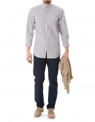 Camisa sport cuadros marrón y marino