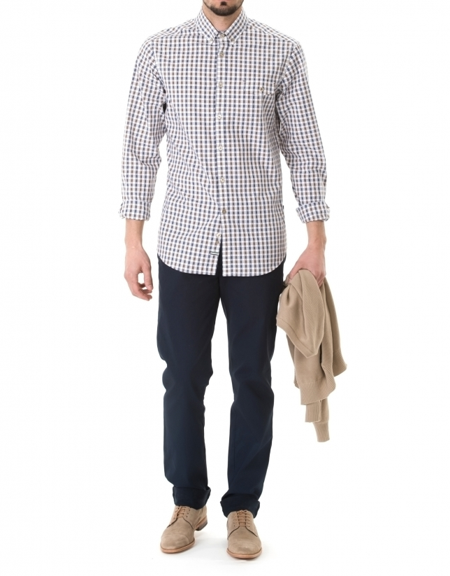 Brown and navy blue Oxford sport premium fit shirt