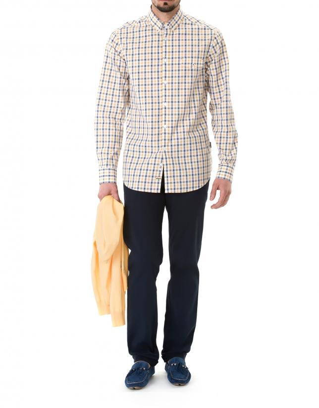 Navy blue and mango sport premium fit shirt