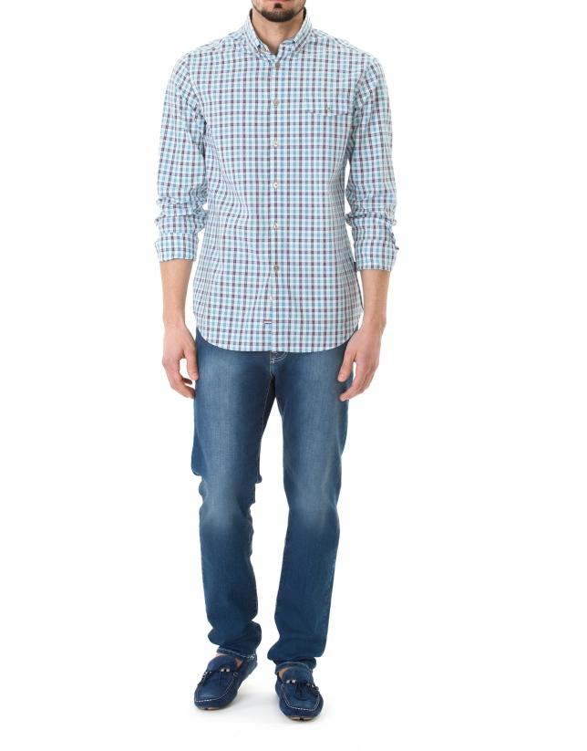 Camisa sport cuadros turquesa y marino