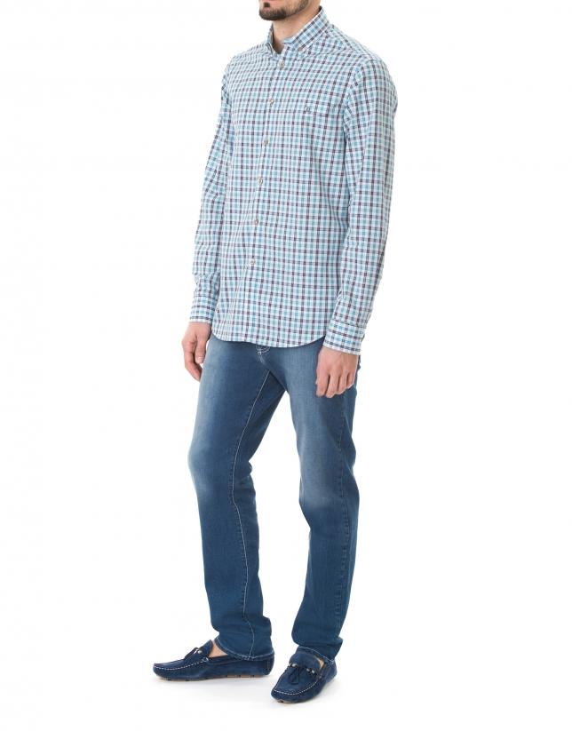 Chemise ville turquoise à carreaux
