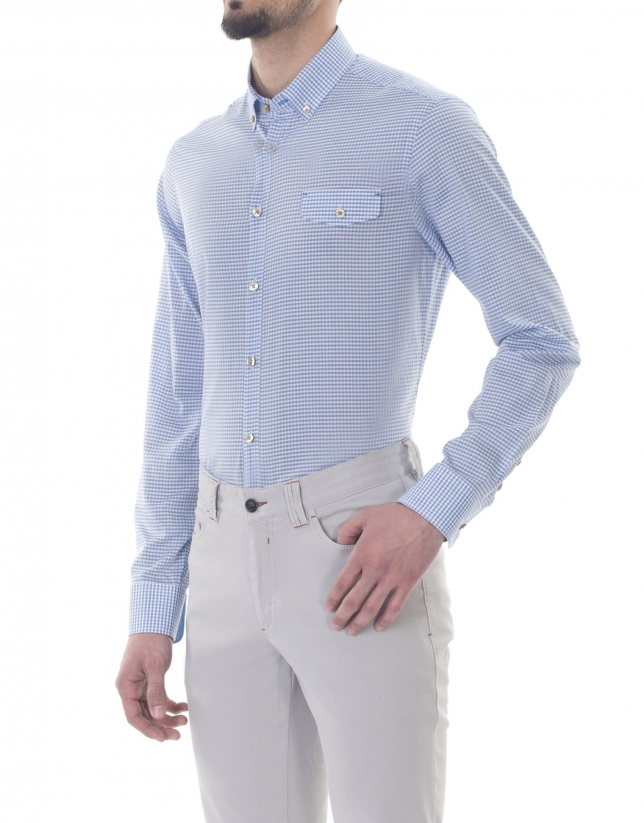 Small blue checked premium fit sport shirt