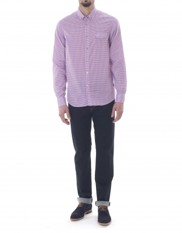 Pink and blue small checked premium fit sport shirt