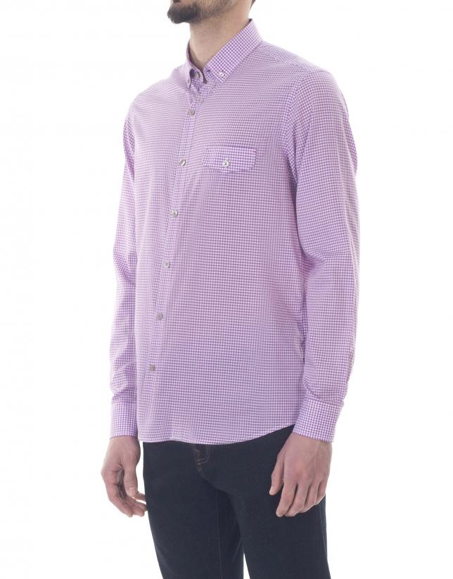 Chemise ville à petits carreaux rose et bleue
