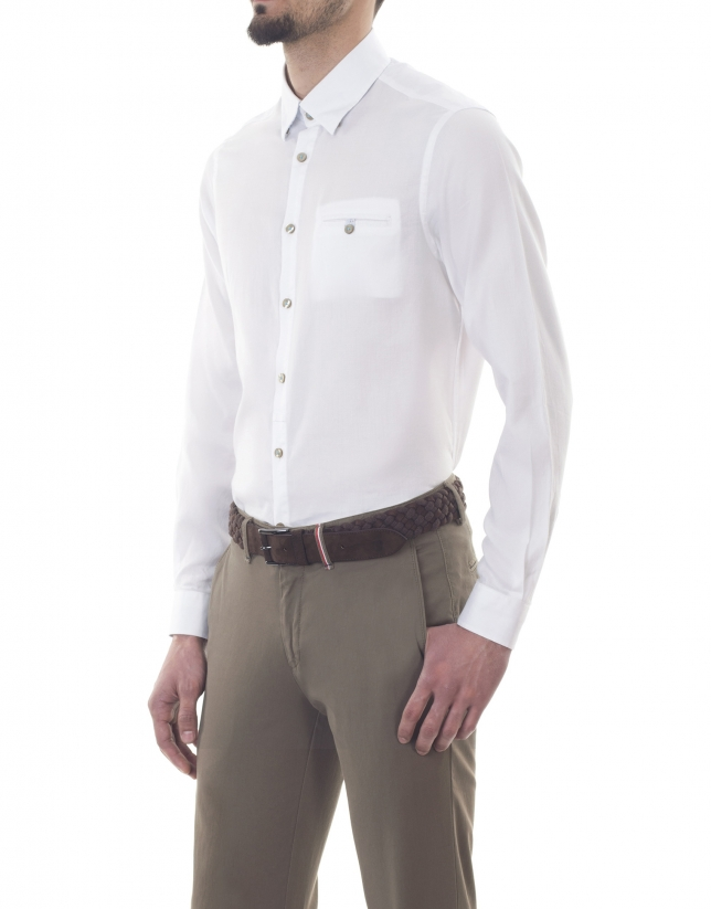 White microprint premium fit sport shirt