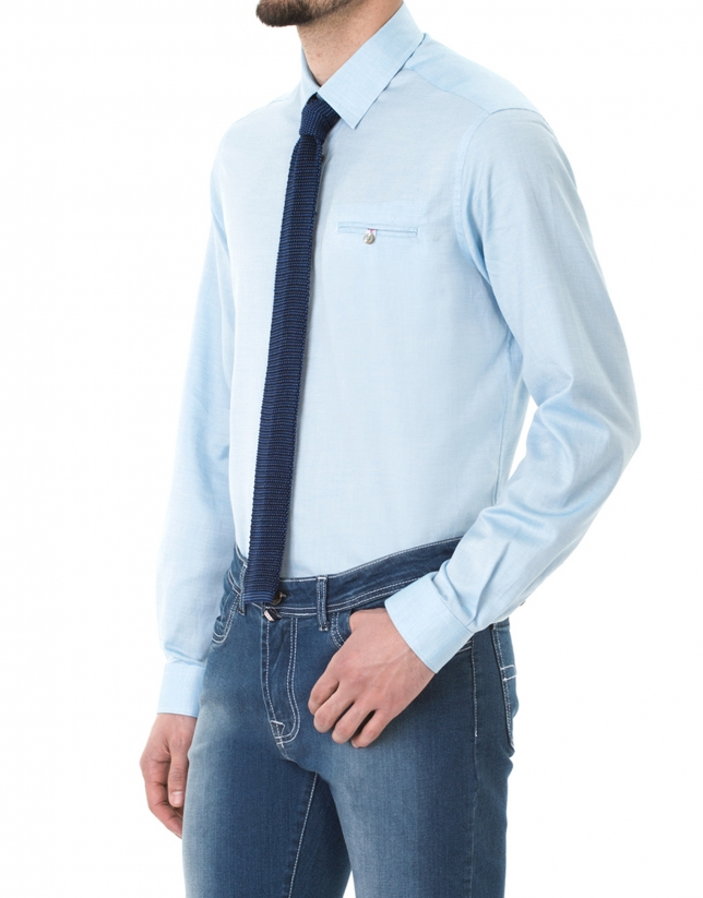 Camisa sport microdibujo turquesa