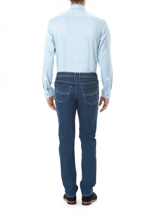 Turquoise microprint premium fit sport shirt