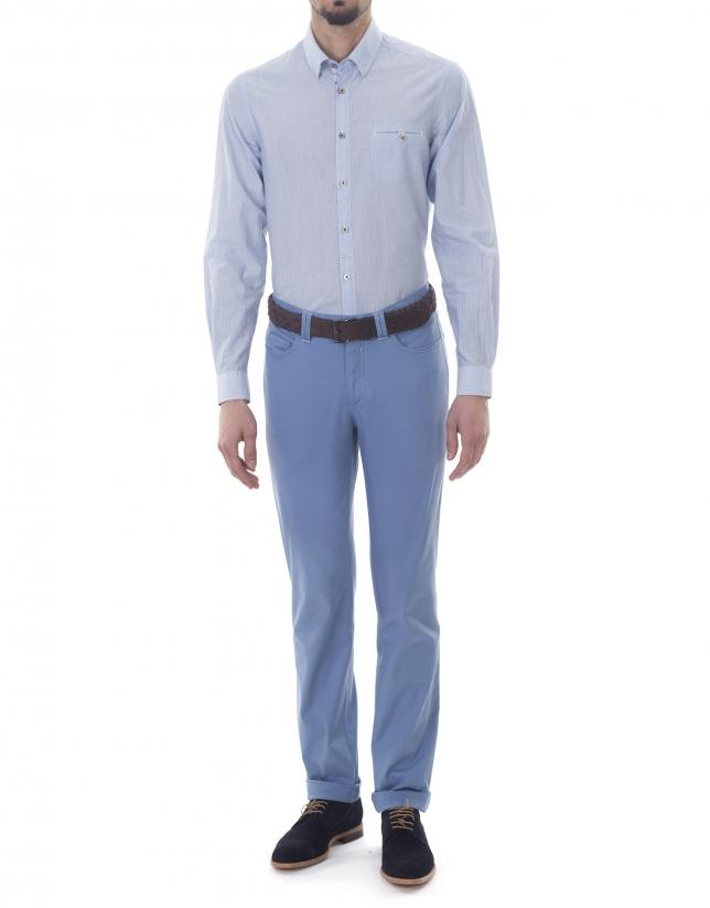 Chemise ville à rayures bleu