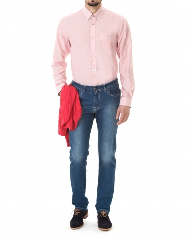 Pink striped premium fit sport shirt