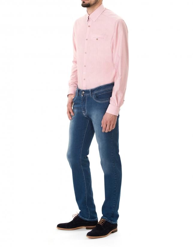 Pink striped premium fit sport shirt