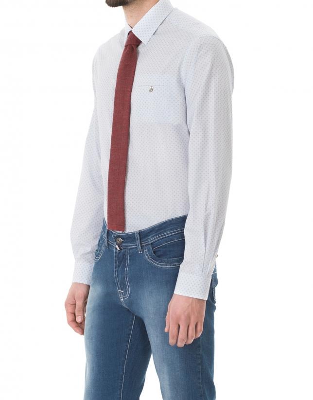 Blue, beige and white print premium fit sport shirt