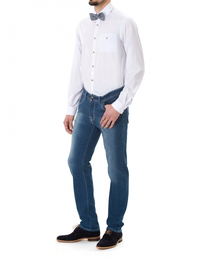 Red, blue and white print premium fit sport shirt