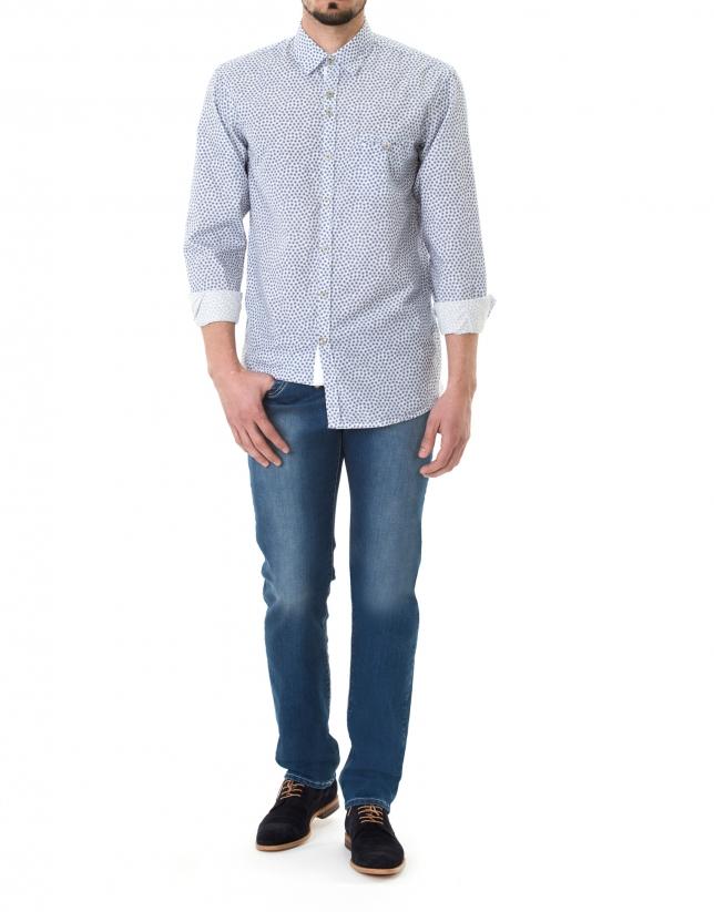 Blue floral print premium fit sport shirt