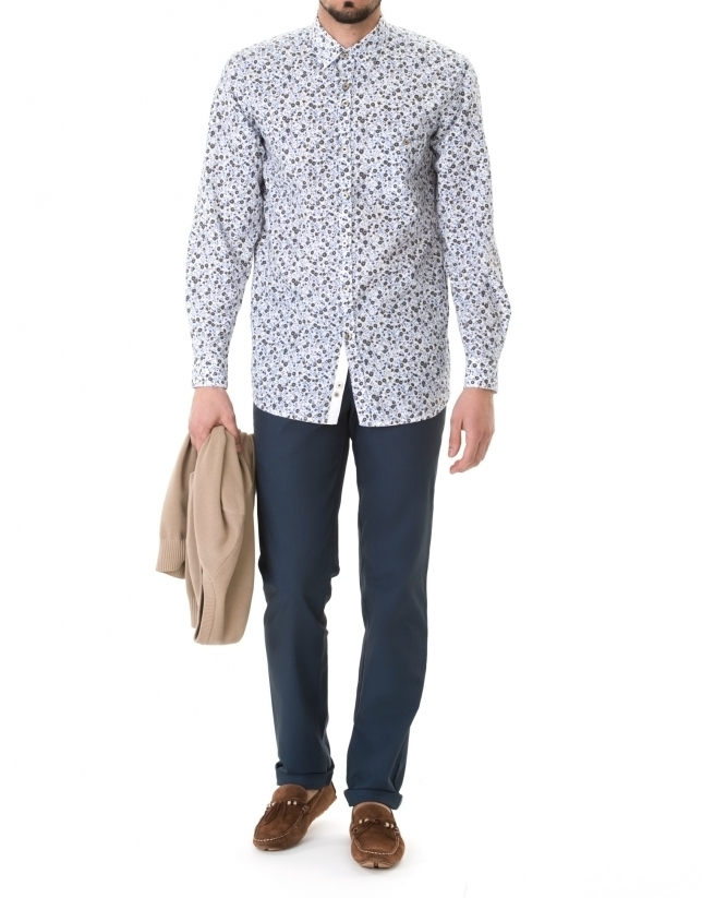 Blue and brown floral print premium fit sport shirt