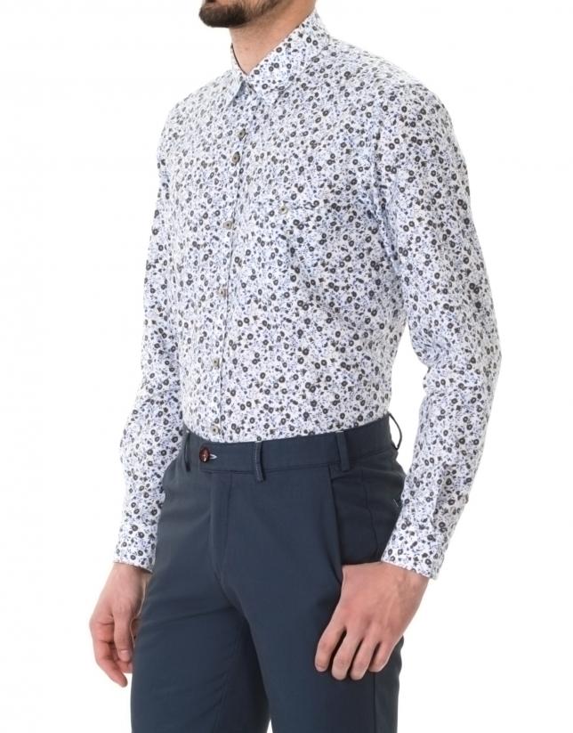 Blue and brown floral print premium fit sport shirt