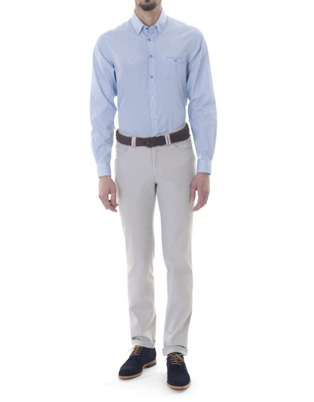 White and blue striped premium fit sport shirt.