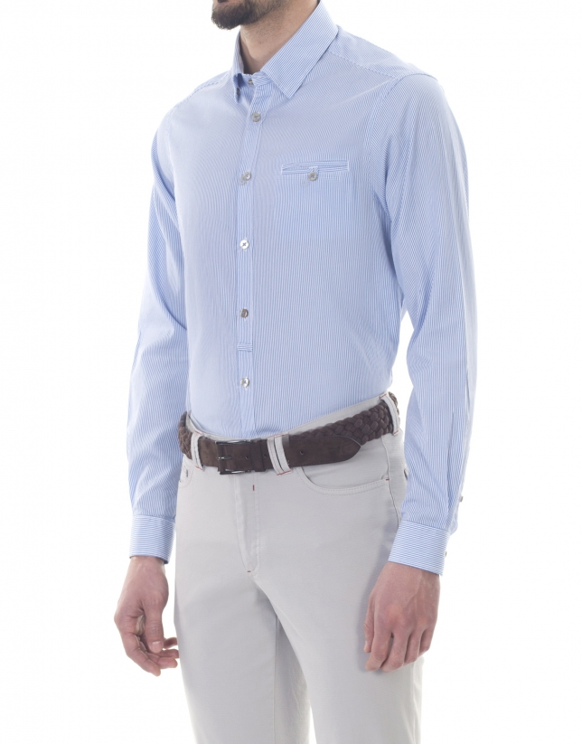 Camisa sport rayas blancas y azules