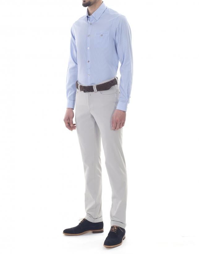 Chemise ville à rayures blanc et bleues