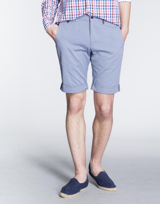 Bermuda en coton, microdessins chevrons, couleur bleue