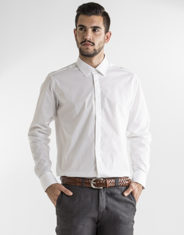 Chemise costume unie blanche