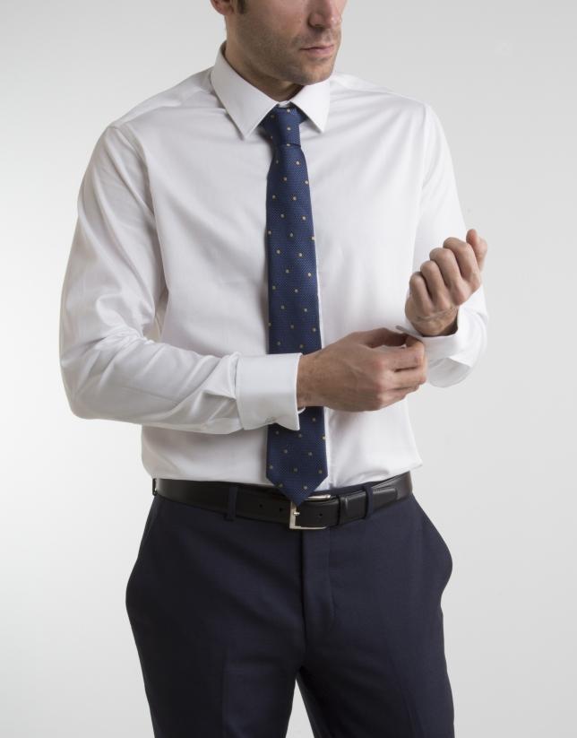 White micro structured dressy shirt