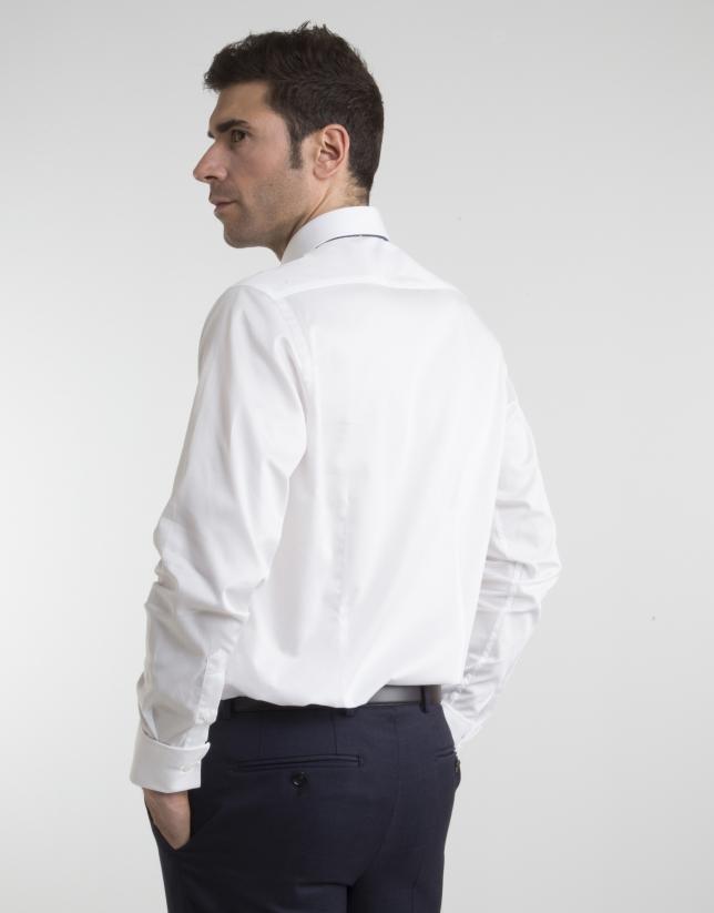 Camisa de vestir microestructura blanca