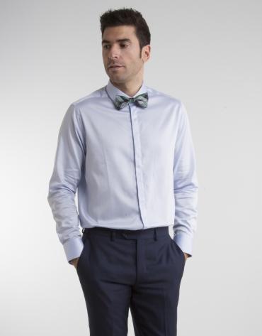 Chemise de costume Oxford bleu ciel, boutons de manchette