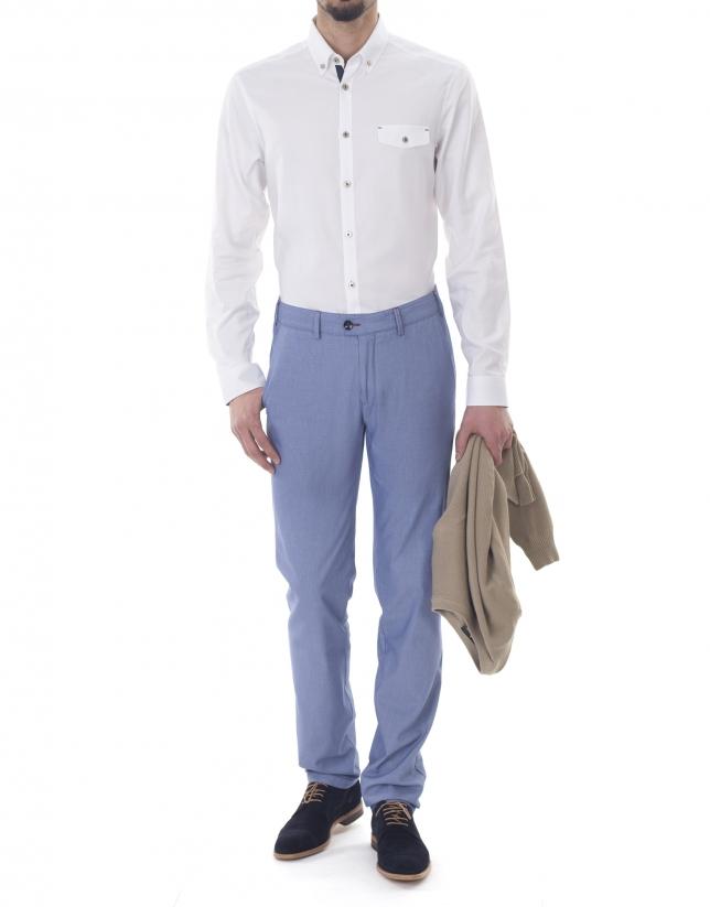 Pantalon ville à micromotifs blanc