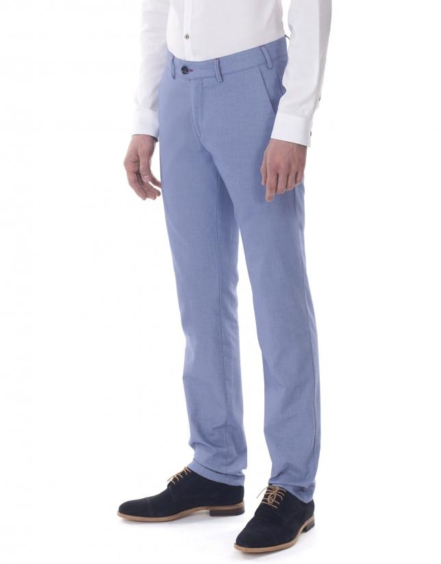 Pantalón sport microdibujo azulón y blanco