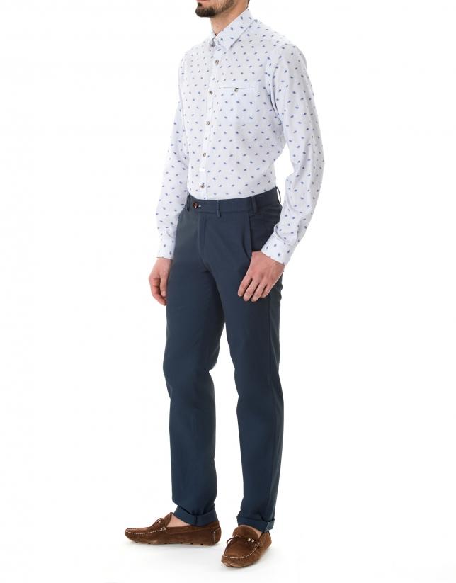Pantalón sport microdibujo marino y azulón