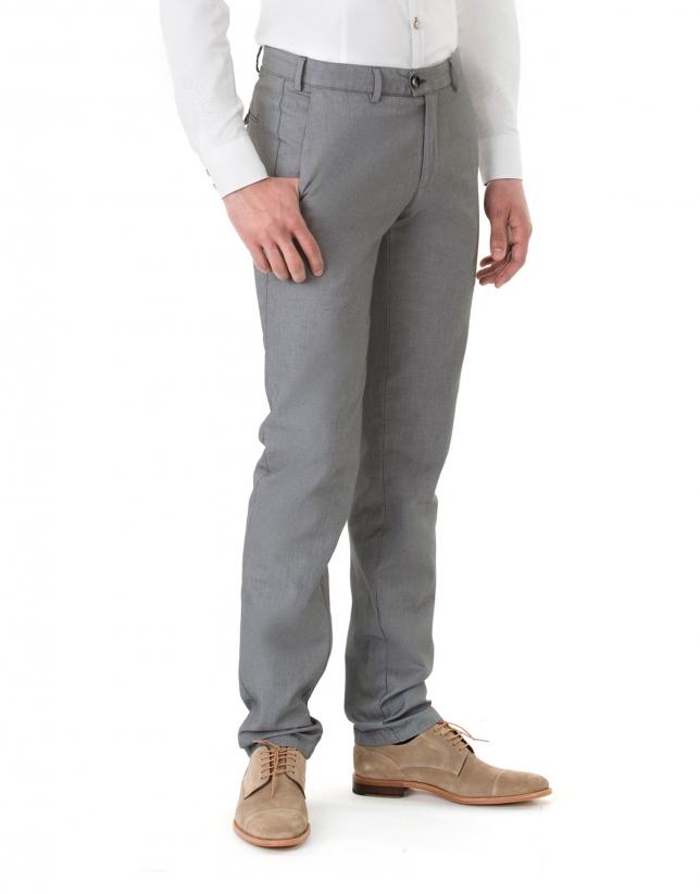 Pantalón sport microdibujo negro y blanco