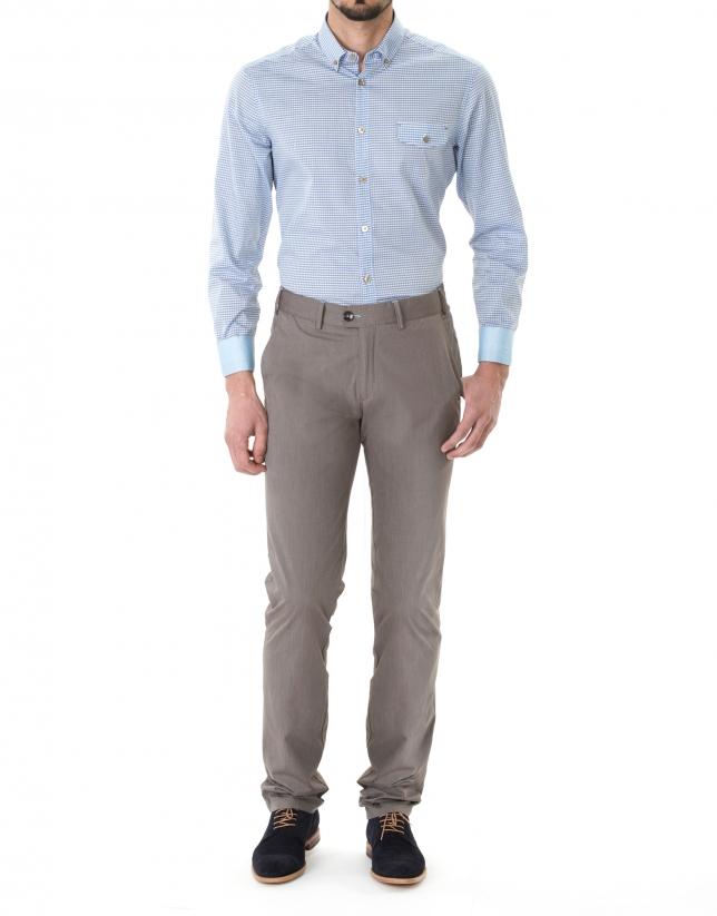 Pantalón sport microraya marrón