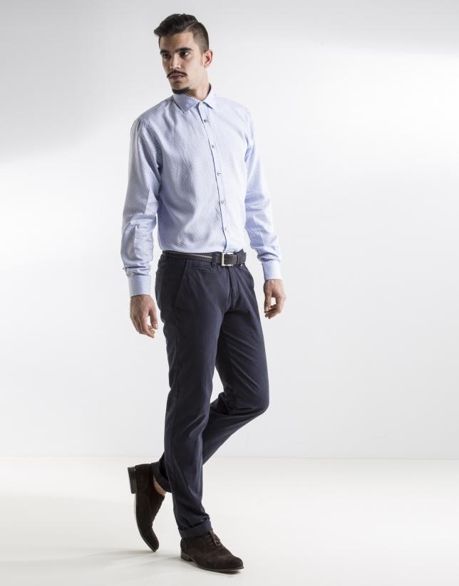 Camisa sport estampada azul