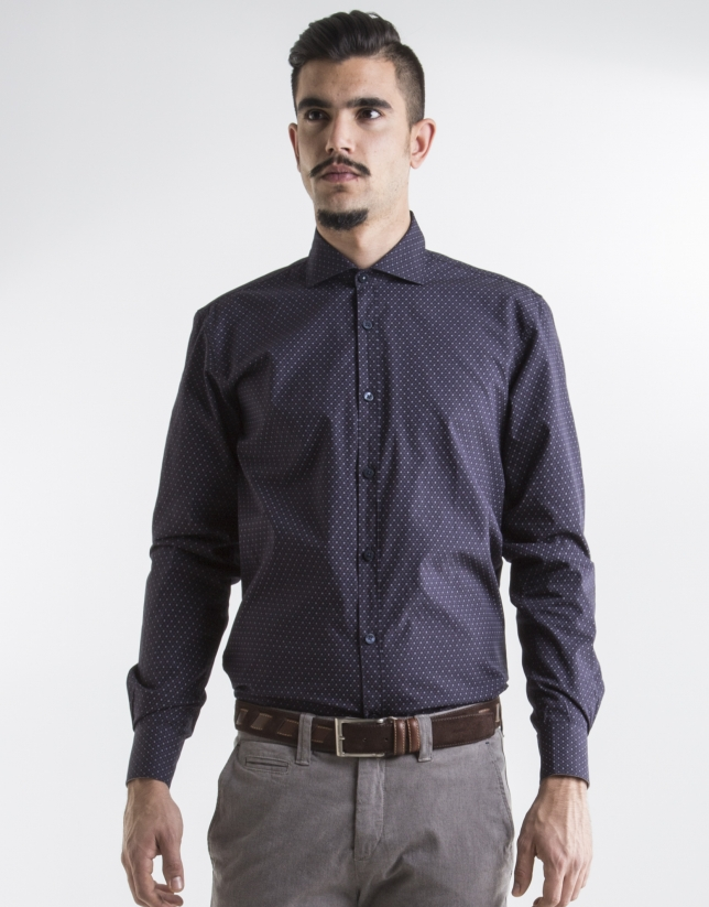 Navy blue sport shirt with grey motifs