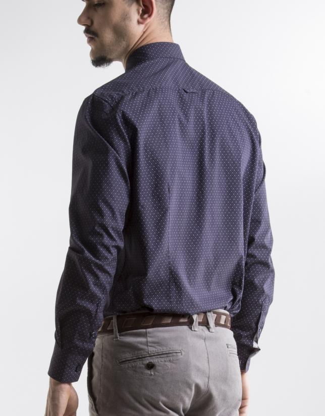 Camisa sport estampada motivos azul marino