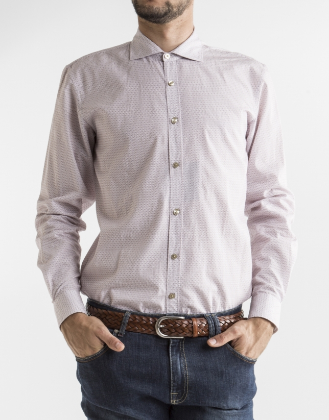 White sport shirt with burgundy motifs