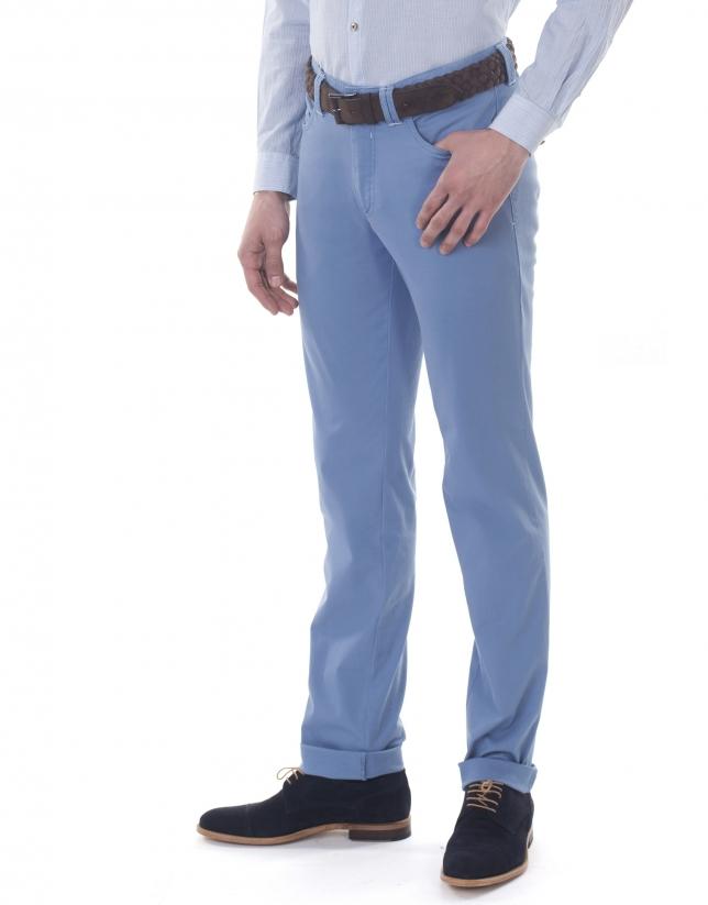 Pantalon ville jacquard bleu