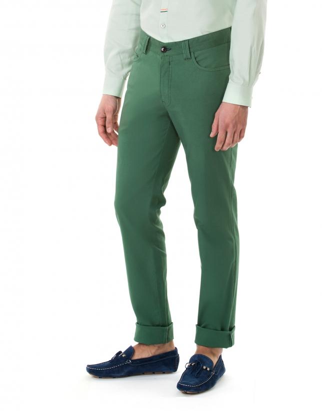 Pantalon ville jacquard vert