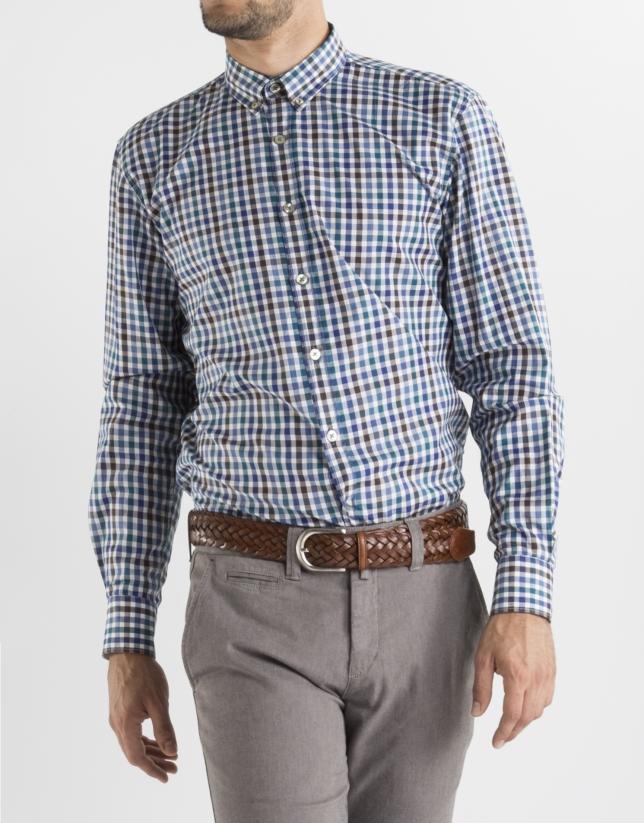 Camisa sport cuadros marrón, azul y verde