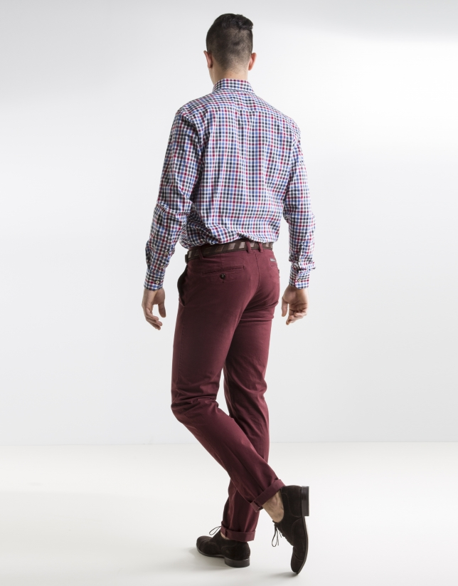 Blue and red checked sport shirt