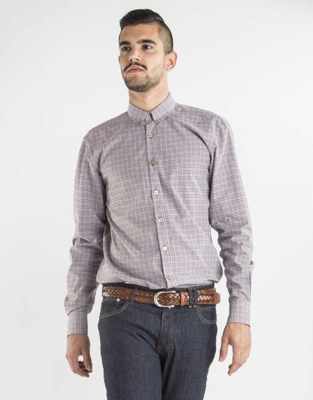 Brown and gold checked sport shirt