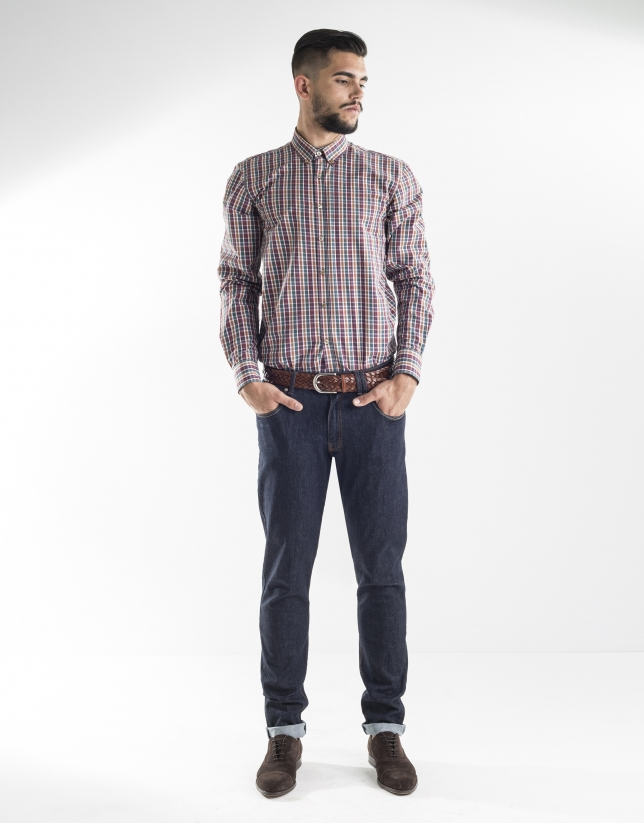 Multi-colored checked sport shirt