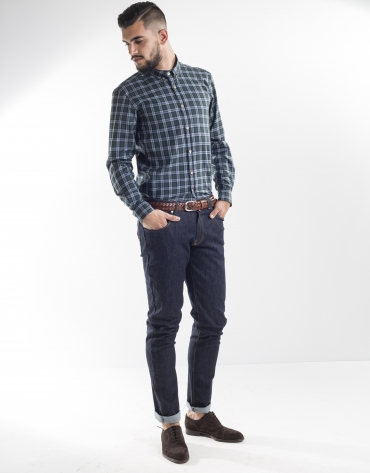 Green and blue checked sport shirt