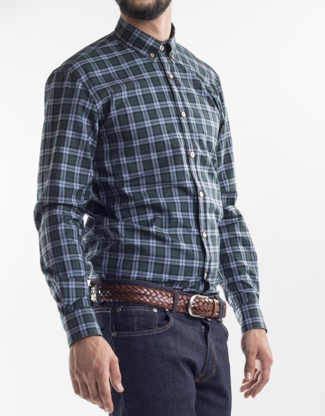 Camisa sport cuadros verdes azules