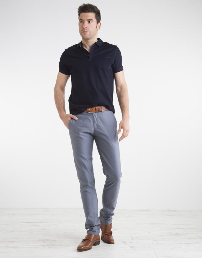 Pantalon de ville structuré bleu marine