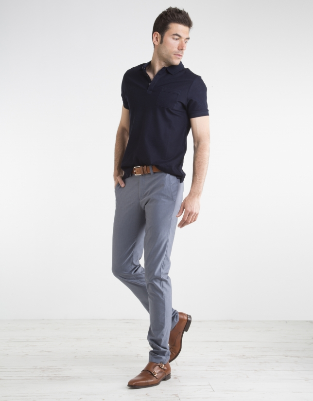 Navy blue structured sports pants