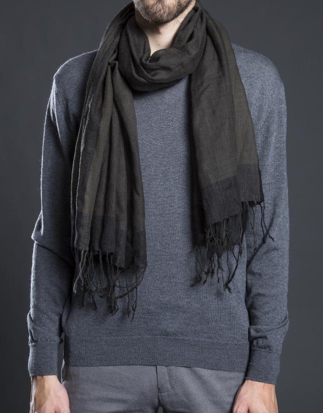Khaki striped scarf