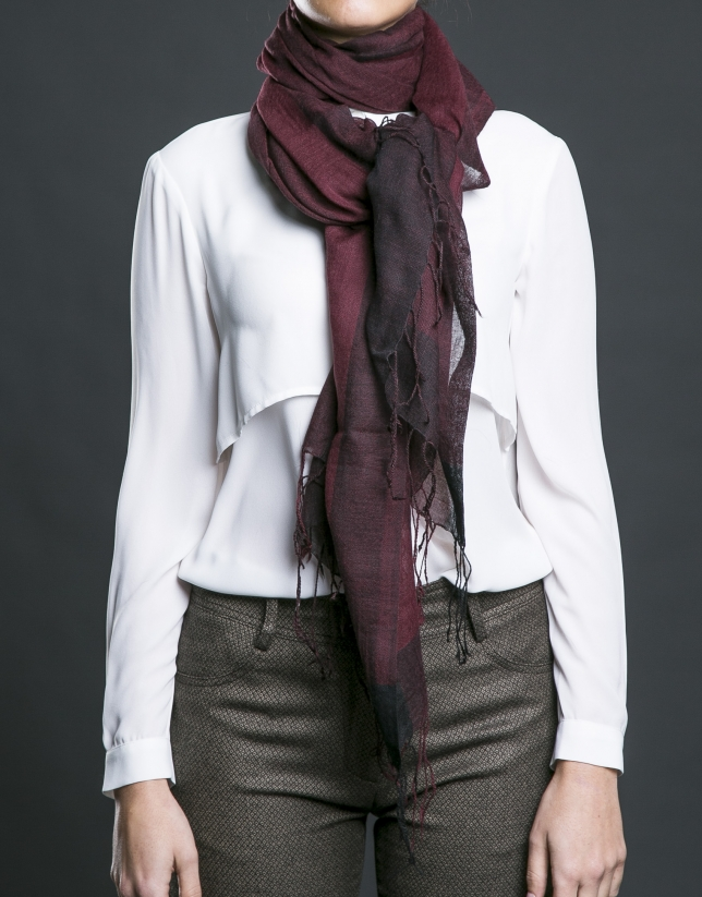 Burgundy striped scarf