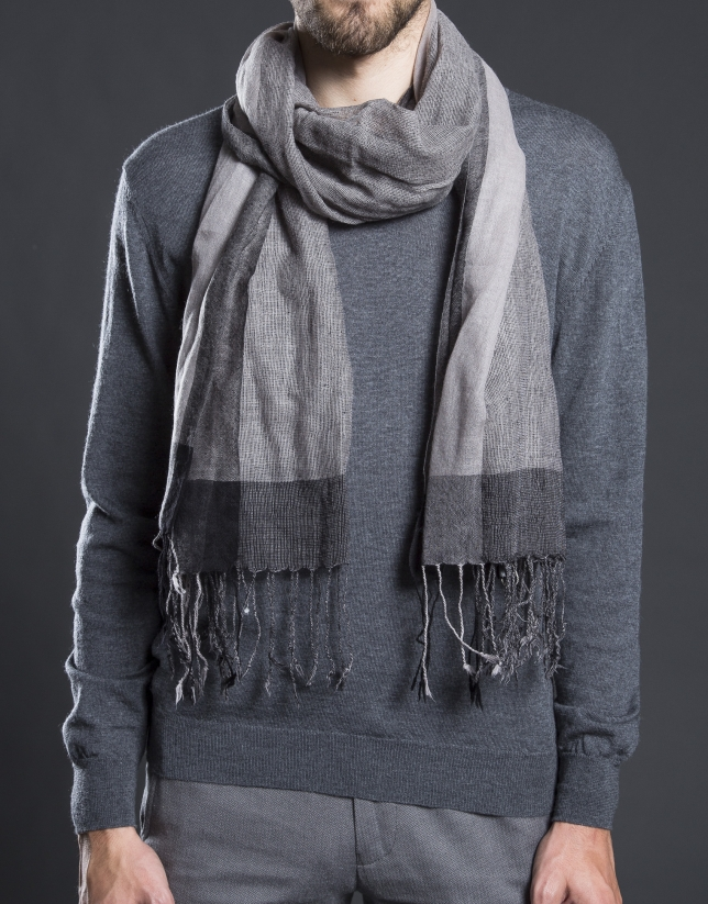 Gray striped scarf