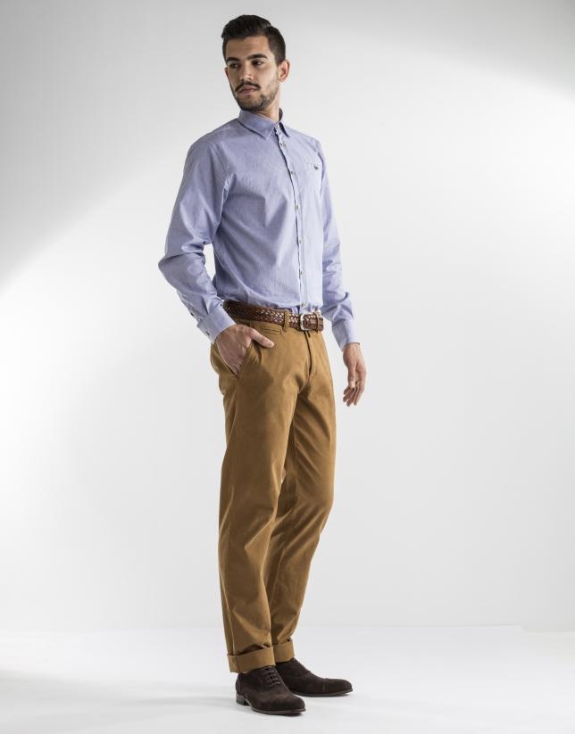 Camisa sport jacquard azul motivos oro